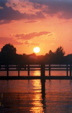 Sunset over neighbors pier, Jupiter FL