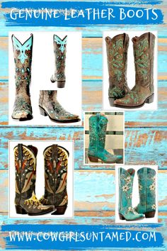 COWGIRLS BOOTS at Cowgirls Untamed! Genuine leather. Built in comfort system. Embroidered. Many styles & colors! FREE USA Shipping ~FREESHIP20 ! COWGIRLS UNTAMED ~ Wholesale & Retail #cowgirlboots #leatherboots #boots #ridingboots #cowgirl #western #cowboyboots #women #ladies #outfit #embroidery #fashion #turquoise #brown #wholesle #Cowboypro #sniptoe #horseriding #floral #CROSS #barrelracing #rodeo #leather #crystal #zipper #christian #feather #weddingboots #inlay #beautiful #onlineshopping Cowgirl Style Outfits, Cowgirl Outfits, Cowgirl Boots, Riding Boots Fashion, Cowgirl Fashion, Autumn Fashion Women Fall Outfits, Winter Fashion, Plus Size Cowgirl, Turquoise Fashion