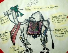 """Free hand sketching by a marker pen of a camel who is styled up on the basis of """"RAJASTHANI CULTURE."""""""