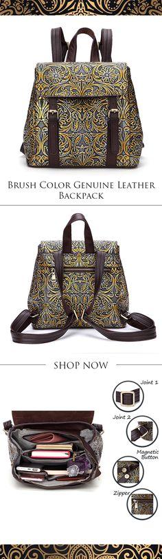 【51% OFF】Brenice Brush Color Genuine Leather Women Backpack Vintage Emboss Women Shoulder Bag