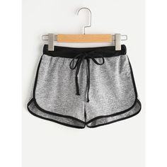 Drawstring Waist Ringer Shorts ($6.99) ❤ liked on Polyvore featuring shorts, grey, loose fitting shorts, sport shorts, sports shorts, stretch shorts and gray shorts