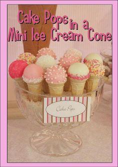 Cake pops in  a mini ice cream cone-How cute!