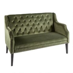 One of my favorite discoveries at ChristmasTreeShops.com: Tufted Velvet 2-Seat Settee with Nailheads