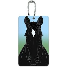 Horse Black White Diamond ID Tag Luggage Card for Suitcase or Carry-On, Multicolor