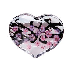 """""""Cherry Blossom Heart Paperweight - Clear"""" Art Glass Paperweight created by Robert Held on Artful Home"""