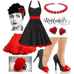 """""""Black and Red Polka Dot Rockabilly"""" This sexy-sassy-cute polka dot rockabilly dress outfit works on pretty much all body types and is super easy to put together, starting with our sexy retro pinup shoes and red fluffy petticoat! Mode Rockabilly, Rockabilly Wedding, Rockabilly Outfits, Rockabilly Fashion, Rockabilly Clothing, Pin Up Outfits, Pin Up Dresses, Dress Outfits, Dress Up"""