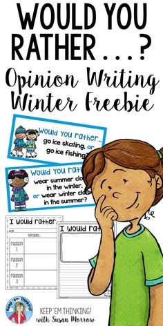 "This Free Winter Opinion Writing Would you Rather resource is a great activity to help your second, third, fourth, fifth grade or homeschool student practice & review opinion writing. Includes intriguing ""Would you Rather"" questions cards, a ""Would You Rather"" Opinion writing graphic organizer & writing response pages. Perfect for a writing center & for early finishers. Inspire even the most reluctant writers with relevant questions that are sure to engage! {2nd, 3rd, 4th, 5th grade}"