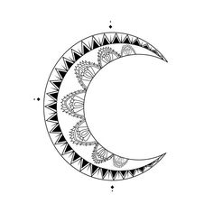 Moon Crescent Tattoo Design DIGITAL by InknIllustrations on Etsy