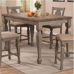 Riverbend+Two-Tone+Counter+Height+Table+in+Antique+Gray+Finish