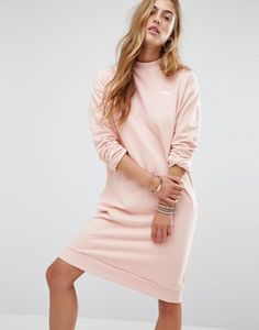 Светло-розовое трикотажное платье adidas Originals