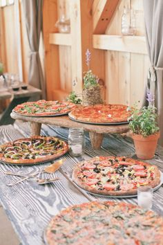 Pizza, YUM! Show your love for pizza by creating a pizza bar for your guests. This could be done as a late night snack, during dinner, or even during cocktail hour. This fun reception bar idea will make your wedding guests feel right at home!