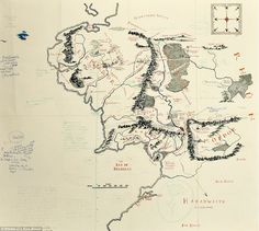 The Hobbit and Lord of the Rings by J. Tolkien, 1937 and 1954 (Map shown is from Fellowship of the Ring) Jrr Tolkien, Batman Comics, Fantasy Map, Fantasy World, Dark Souls, Tolkien Drawings, Middle Earth Map, Unique Maps, O Hobbit