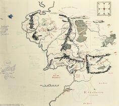 Die klassische Karte von Mittelerde mit handschriftlichen Notizen von Tolkien: | 26 Karten von fiktiven Orten, die Du gerne mal besuchen würdest