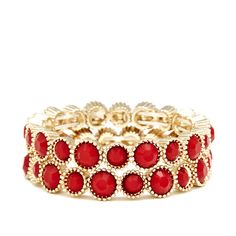 Sole Society Stone Stretch Bracelet Set ($25) ❤ liked on Polyvore featuring jewelry, bracelets, accessories, red, stretch jewelry, bracelet set, sole society, bracelet bangle and stone bracelet