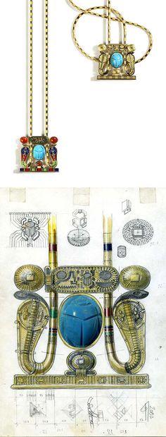"VLAD GLYNIN jewellery - vladglynin.com - Necklace ""Tutankhamun"", 2004. Yellow gold, turquoise, enamel, carnelian, black rhodium. The necklace can be worn on both sides, with the scarab turning to remain visible / Колье ""Тутанхамон"", 2004 г. Жёлтое золото, бирюза, эмаль, сердолик, чёрный родий. Скарабей переворачивается на обе стороны колье / Collana ""Tutankhamon"", 2004. Oro giallo, turchese, smalto, corniola, rodio nero. Lo scarabeo si gira su entrambi i lati."
