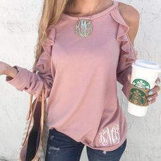FRENCH TERRY COLD SHOULDER TOPS