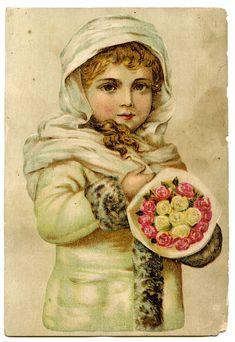free angel postcard image | Vintage Christmas Clip Art – Stunning Angelic Snow Girl