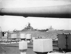 Battleships USS South Dakota (BB-57) and USS Alabama (BB-60) underway in the Atlantic Ocean, 1943; photo taken from the British battleship HMS King George V.