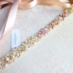 Ombre Blush Crystal Bridal Belt