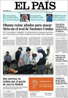 Los Titulares y Portadas de Noticias Destacadas Españolas del 27 de Agosto de 2013 del Diario El País ¿Que le pareció esta Portada de este Diario Español?