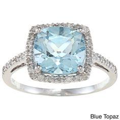 Viducci 10k Gold Cushion-cut Gemstone and 1/5ct TDW Diamond Ring (G-H, I1-I2) (Blue Topaz - Size 6.5), Women's