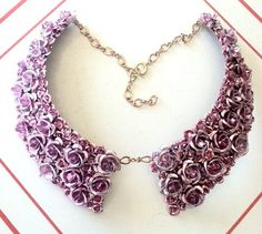 Metal Oxford Collar with Pink Aluminum Roses by LAB
