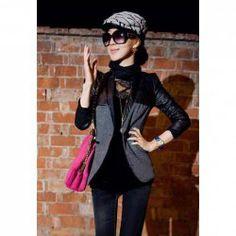 $13.76 Elegant Stand Collar Slimming Solid Color Splicing Design Long Sleeve Cotton Blend Coat For Women