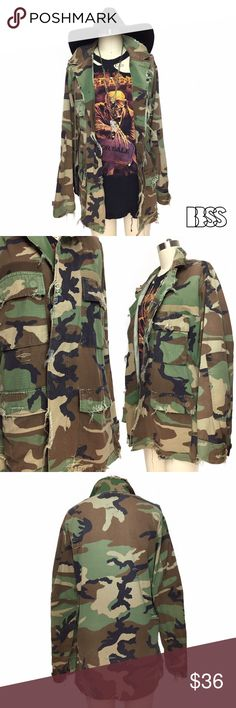 VINTAGE DISTRESSED CAMO MILITARY FIELD JACKET!!! VINTAGE DISTRESSED CAMO MILITARY FIELD JACKET!!! The PERFECT camouflage JACKET! Distressing and shredding details all over! Lightweight material is literally perfect for ANY SEASON!! CAMO style is fashion staple that is here to stay!!! Vintage Jackets & Coats Utility Jackets