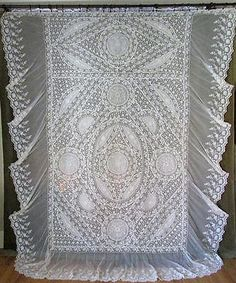 EXCEPTIONAL-Antique-FRENCH-Normandy-LACE-Antique-Bedspread-Coverlet-France-Label
