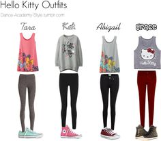 Hello Kitty Outfits by hanamia22 featuring flat shoes Forever 21 graphic tee, £6.47 / Helmut Lang black pants / Paige Denim black skinny jeans / NIC ZOE thick legging, £58 / Skinny jeans / Converse...