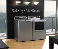 """""""Wash Dry Fold Repeat"""" decorative vinyl lettering decals for the laundry room - ha! Story of my life. Laundry Room Cabinets, Laundry Room Bathroom, Laundry Room Design, Laundry Rooms, Laundry Area, Laundry Room Quotes, Vinyl Cutting, Vinyl Lettering, Wall Stickers"""