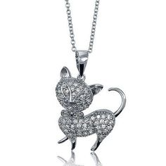 Cat Pendant Sterling Silver CZ w/ Chain Necklace BERRICLE…