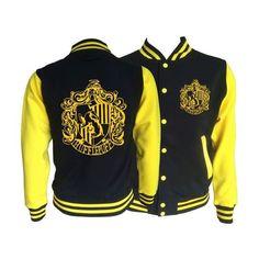 Vintage style Harry potter Inspired Hufflepuff House varsity jacket... ❤ liked on Polyvore featuring outerwear, jackets, pocket jacket, varsity-style bomber jacket, varsity bomber jacket, teddy jacket and varsity style jacket