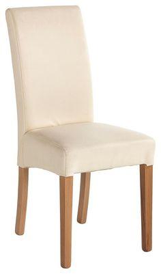 """Der Stuhl """"Promo"""" überzeugt durch hervorragende Sitzeigenschaften und edle Optik. Der Esszimmerstuhl ist aus massivem Buchenholz gefertigt. Rückenlehne und Sitzfläche (ca. 42 x 38 cm) Ihres neuen Stuhls sind mit einem beigefarbenen Bezug im Lederlook überzogen. Dank der weichen Polsterung aus Kaltschaum sitzen Sie einfach bequem auf dem Stuhl """"Promo""""!"""