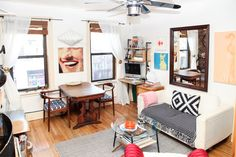 13 Ways To Turn A Tiny Pad Into A Palace #refinery29  http://www.refinery29.com/ideas-for-small-space-living#slide1  BEFORE  My affinity for crazy patterns, found art, and midcentury furniture runs deep, and I've collected quite a bit over the years. I'm not trying to do a complete clean-out because I do really love everything I own. So, I enlisted Gunnar to help me with a light-touch, maximum-impact makeover.