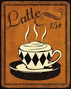 Retro Coffee IV Impressão artística