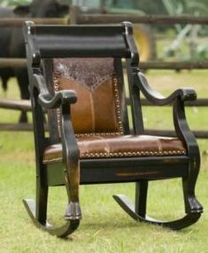 Elegant wood rocking chair with floral embossed leather yoke and chocolate brown leather seat Cowhide Furniture, Western Furniture, Cheap Dining Room Chairs, Shabby Chic Table And Chairs, Furniture Makeover, Furniture Decor, Nice Furniture, Painted Furniture, Toddler High Chair