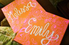 Pretty canvases for a sorority room
