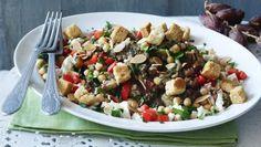 Grilled aubergine salad