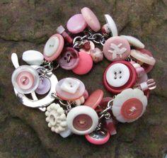 Pink Button Charm Bracelet by brendalou2 on Etsy, 30.00