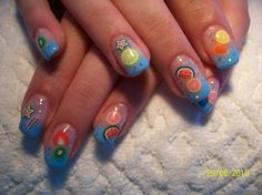 Fruits on blue french nails