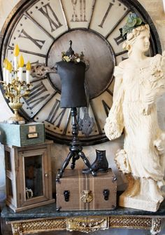 Rare French Original Store Display Table Top Dress Form Mannequin make that clock. French Decor, French Country Decorating, Shabby Chic, Old Clocks, Vintage Clocks, Store Displays, Booth Displays, Retail Displays, Jewelry Displays