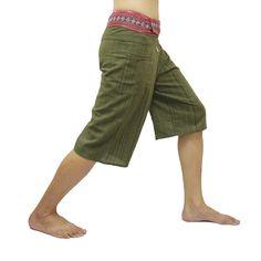 Dark Olive Thai Fisherman Pants Short 3/4 with Thai hand woven fabric on waist side, Wide Leg pants, Wrap pants, Unisex pants   $22.00 Free shipping