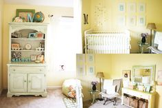 Yellow walls - gender neutral. (http://www.thehandmadehome.net/2010/02/malones-nursery-tour/)