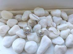 Classy  Elegant Silver Tone Glass and Filigree Earrings by ZaZaJewels on Etsy