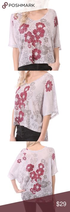 🆕 Floral Cream Hi Low Top Floral Cream hi low top featuring a V neckline and wide sleeves. Made of polyester/ rayon blend. Pair it with jeans, leggings, pants or a skirt. MADE IN USA Bchic Tops