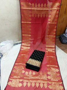 Banarashi chanderi silk top and dupatta with silk or cotton bottom