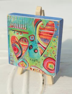 Colorful Heart wood block, AMORE