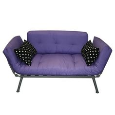 Only $159. Super cute purple futon type couch with black and white polka dot pillows