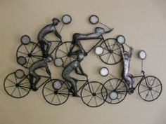 "Contemporary Metal Wall Art ""Cyclist Wall Art"""